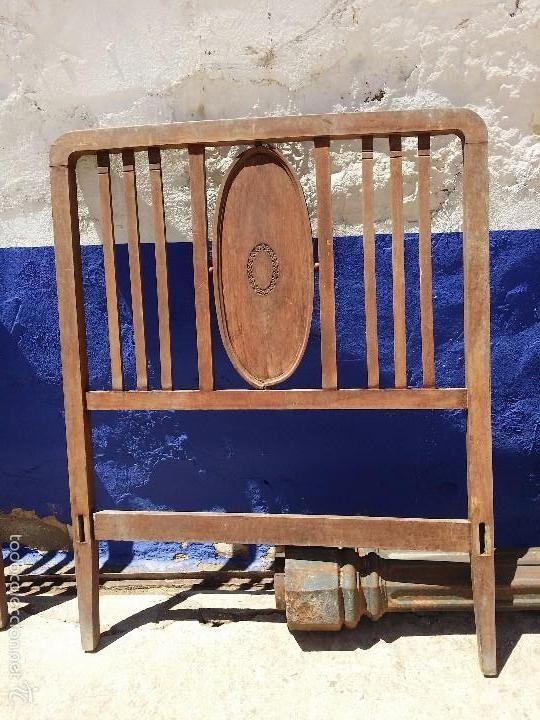 Lote de dos cabezales de cama de madera antig edades muebles antiguos camas antiguas - Cabezales de cama de madera ...