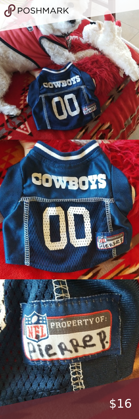 DALLAS Cowboys NFL Blue Jersey Dogs Puppy Cat  XS Great condition, this jersey is tough.  Dallas Cowboys  NFL licensed trademark pet Jersey. #00 Works for the cool cats & kittens.  UNISEX, Truly worn w loving team spirit but need a bigger size.  Size XS extra 🤣Looks like a crop top on dogs over 5 lbs. 8 lbs max, yorkie, maltese chihuahua, or pit bull puppy or siamese cat or rabbit!  Layer it under or over for a sportier warm pup. Name tag says Pierre. see pix🐈🐕🐩🐱🐶🐇 🐾Happy Poshing🐾  🏈Th