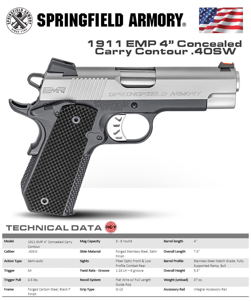 "Springfiled Armory - 1911 EMP 4"" Concealed Carry Contour"