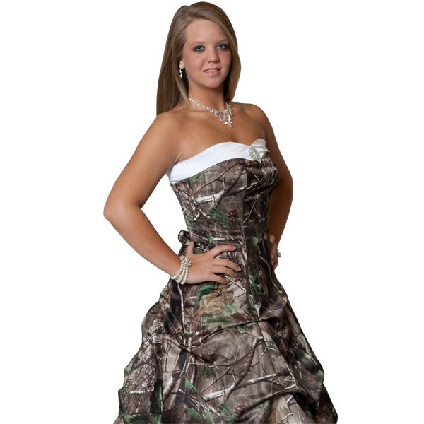 Spectacular Realtree Camo Wedding Gown with Detachable Train