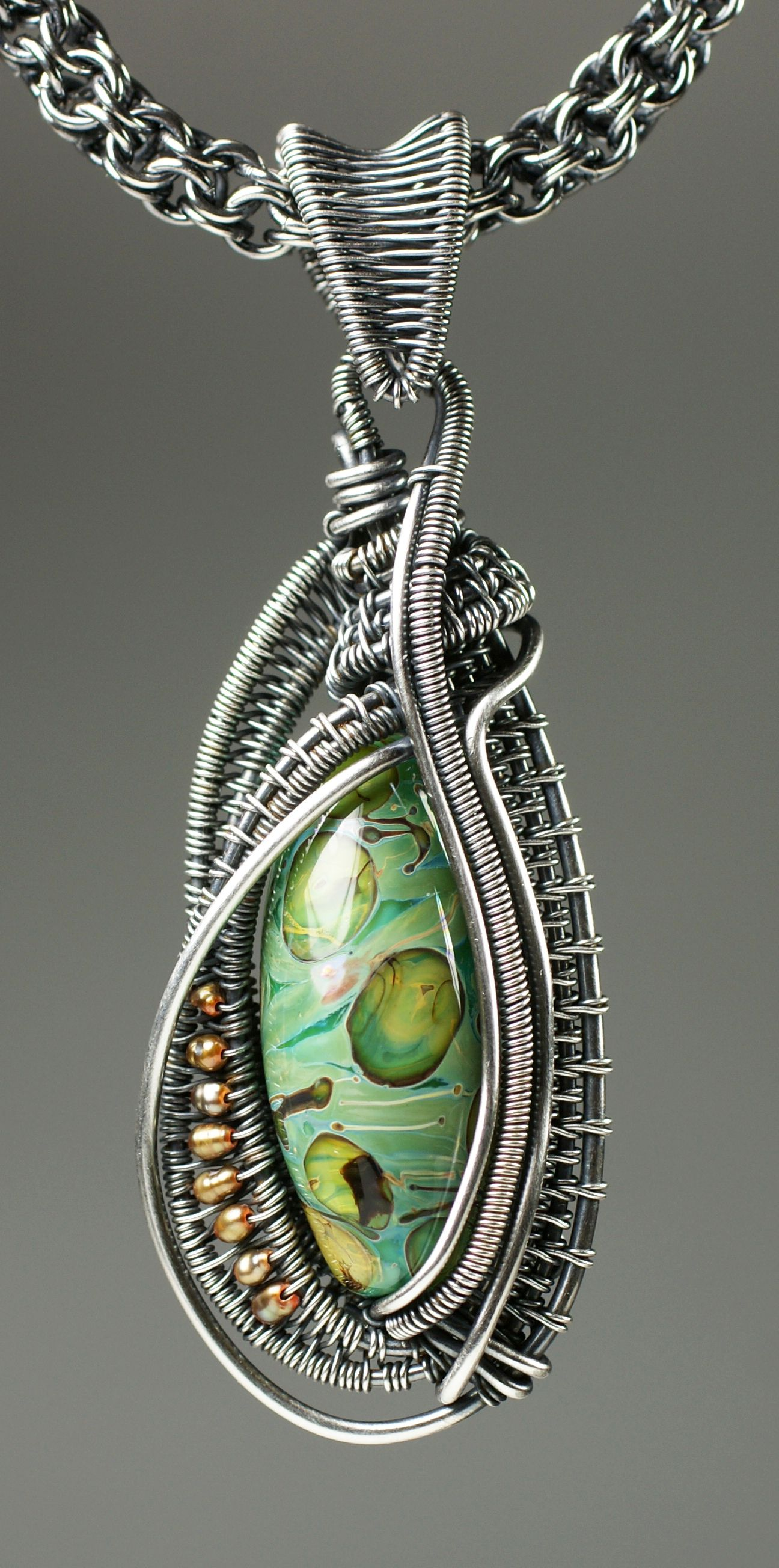 Wire woven oval bead pendant with kaska firor pinteres wire pendant aloadofball Choice Image