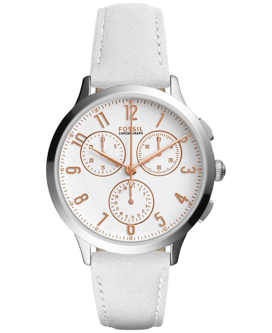 1a2225b6130 Fossil Women s Chronograph Abilene White Leather Strap Watch 34mm CH4000