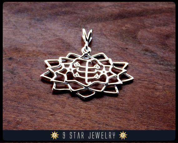Sterling Silver 9 Star Bahai Pendant W Ringstone Symbol By