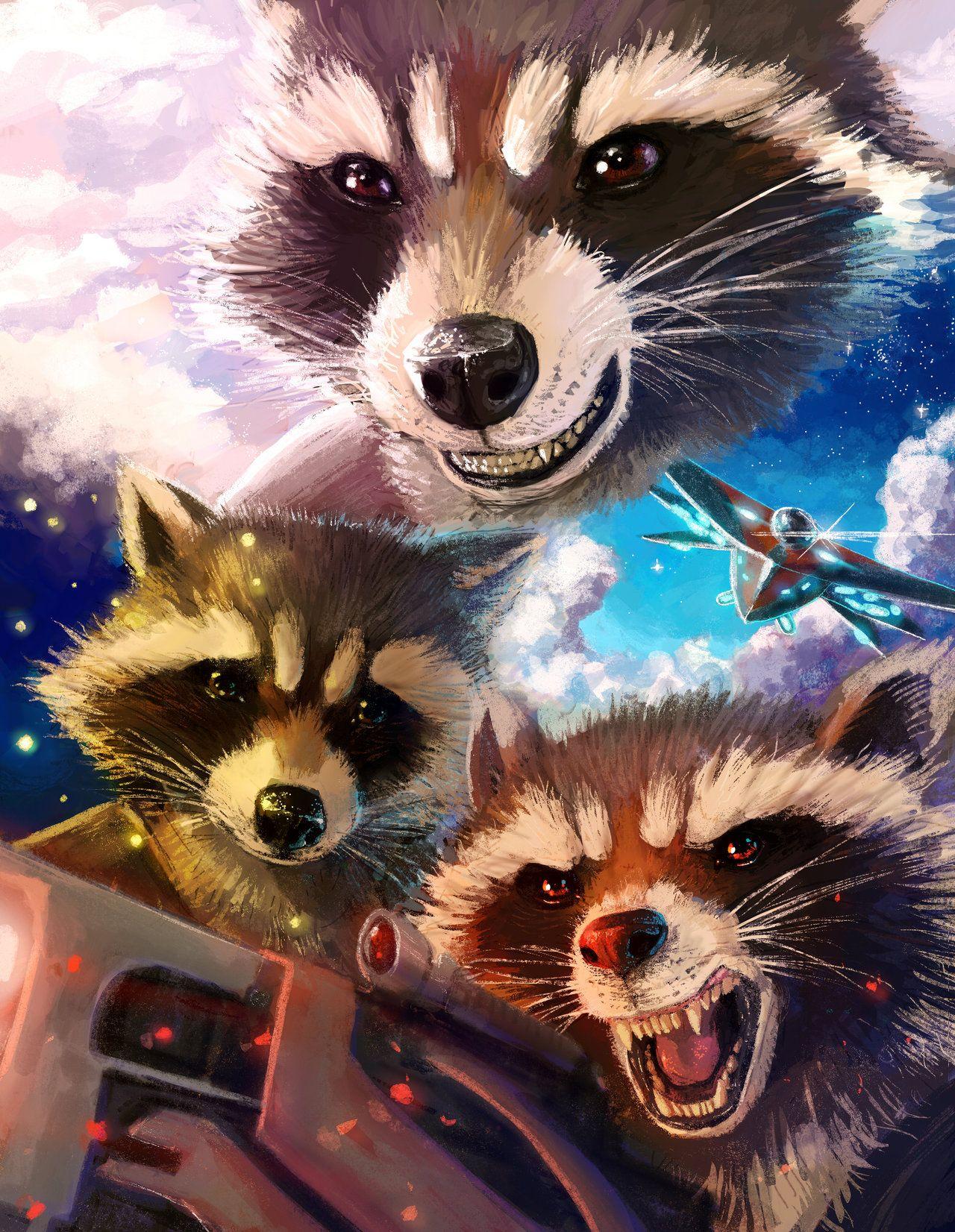 Star Lord And Rocket Raccoon By Timothygreenii On Deviantart: Rocket Raccoon Montage By SoihtuSS.deviantart.com On