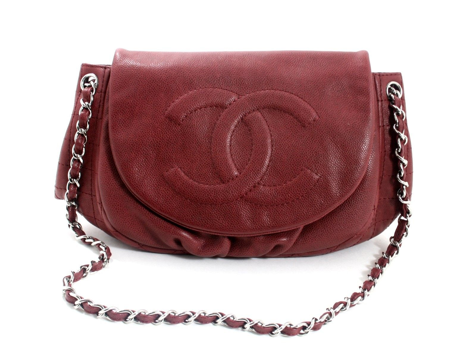 6084c9e3f8d2 Chanel Wine Caviar Leather Half Moon Shoulder Bag - In better than  excellent condition