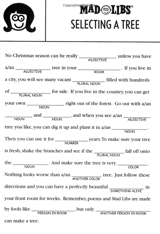 Christmas Mad Libs~Selecting a Christmas Tree | christmas ...