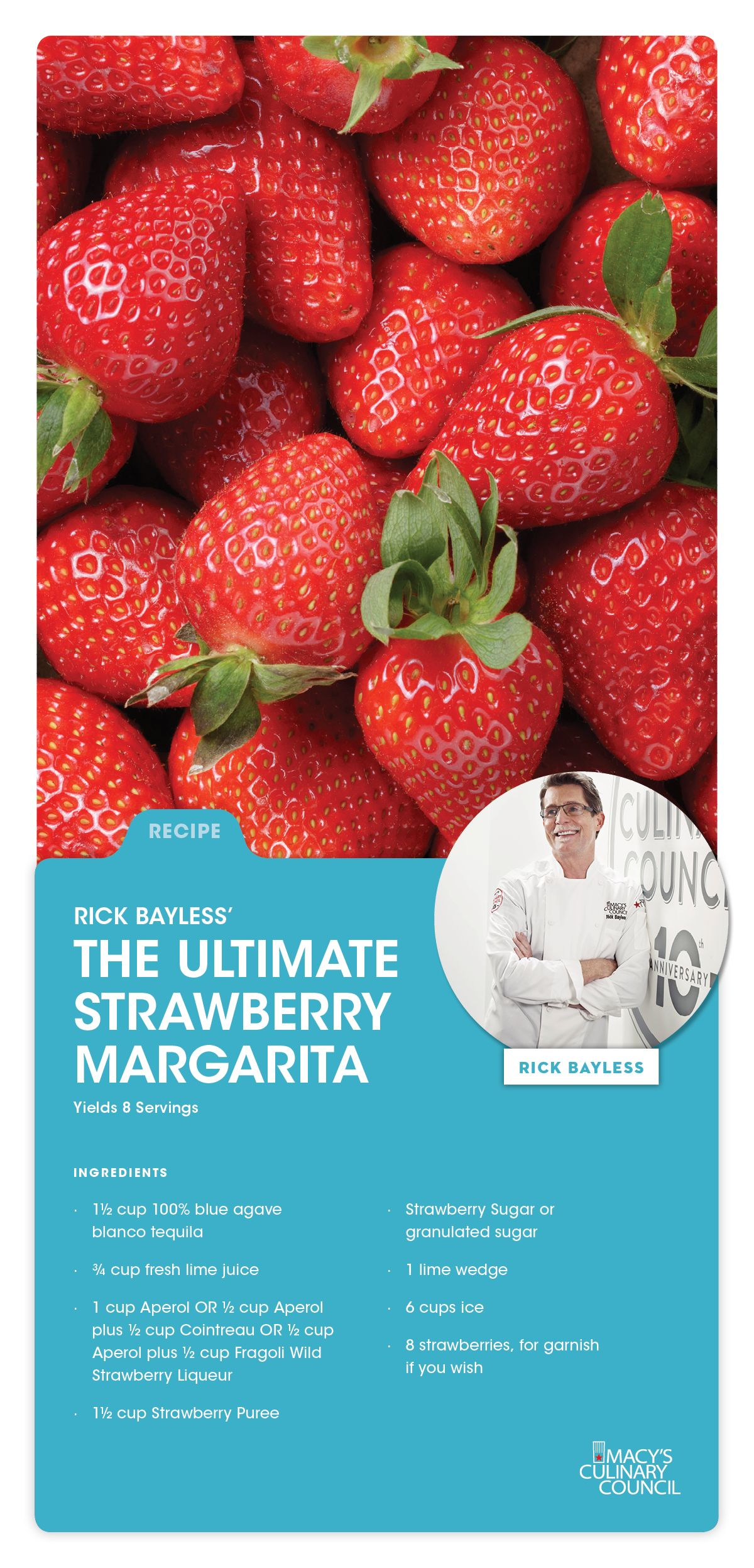 Sweet & delightful, this strawberry margarita recipe from Chef Rick ...