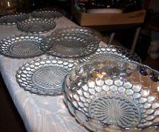 Vintage Anchor Hocking Blue Bubble Sapphire Bread Plates Set 5 + bowl+ 4 saucers