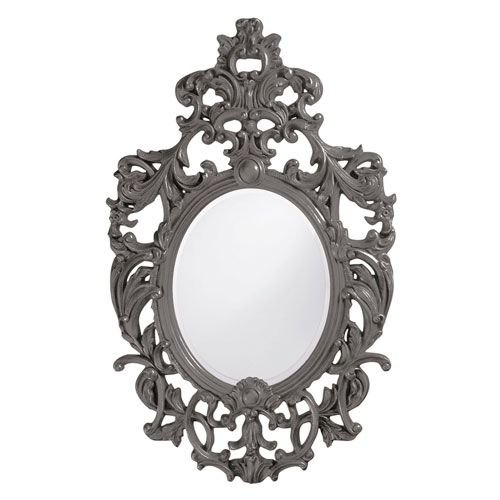 Dorsiere Charcoal Gray Oval Mirror Howard Elliott Collection Oval Mirrors Home Decor