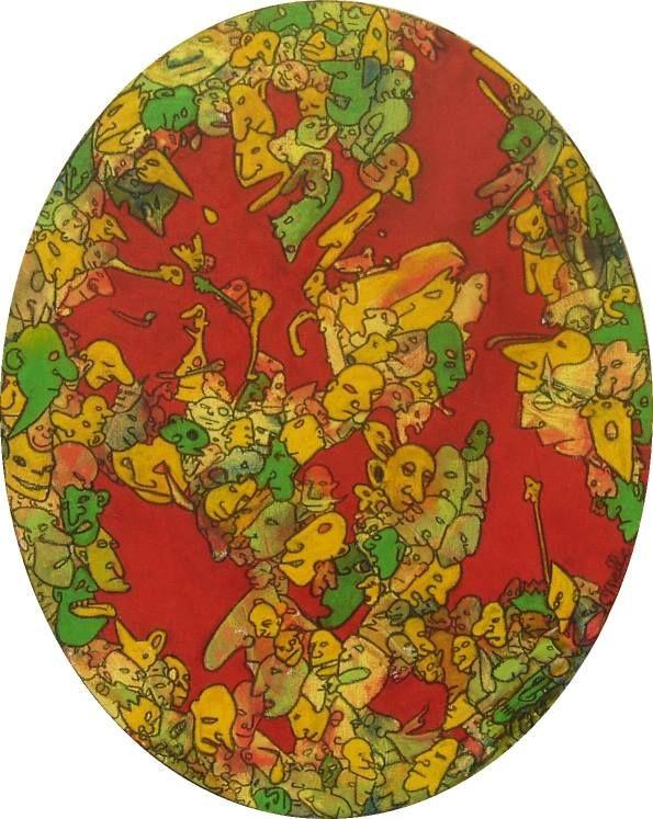 Ovale Part 2 - 40x50 cm,  Acrylique et pastel à l'huile sur toile