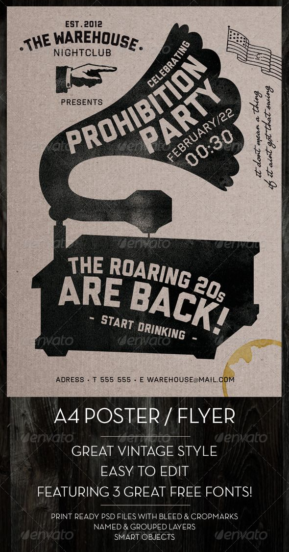 GraphicRiver Vintage Poster 1556808 20s typography Pinterest - band flyer template