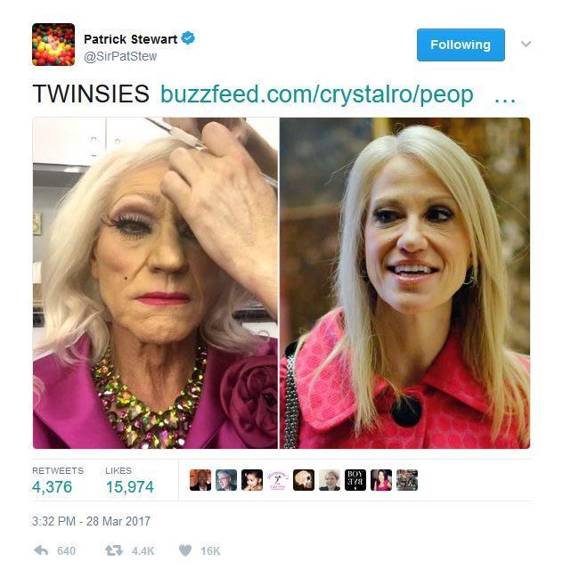 Twitter Supports Patrick Stewart S Kellyanne Conway Impression Patrick Stewart New Tricks Conway