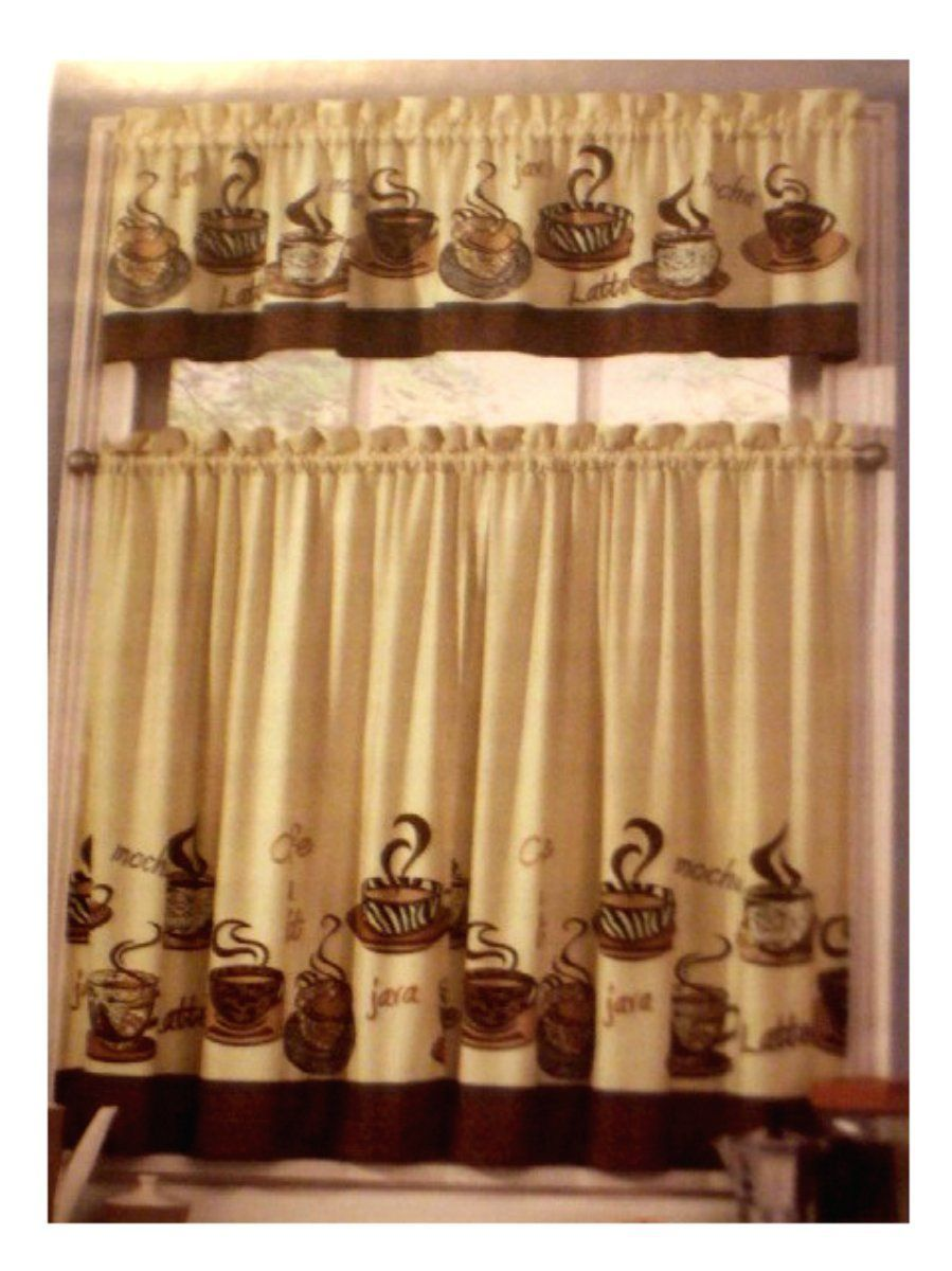 Coffee themed kitchen curtains tiers valance set espresso shots