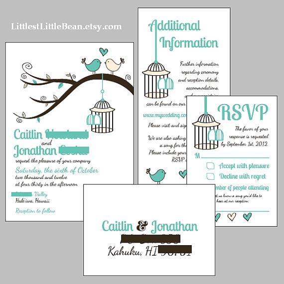 Diy Birdcage Wedding Invitation Inserts By Littlestlittlebean 50 00