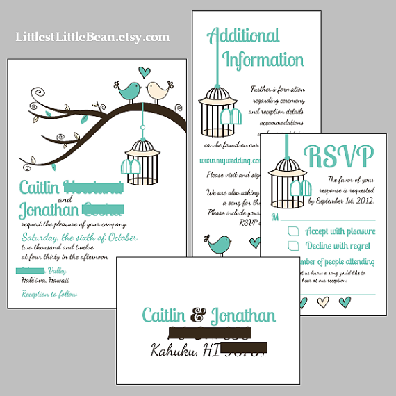 DIY Birdcage Wedding Invitation Inserts By