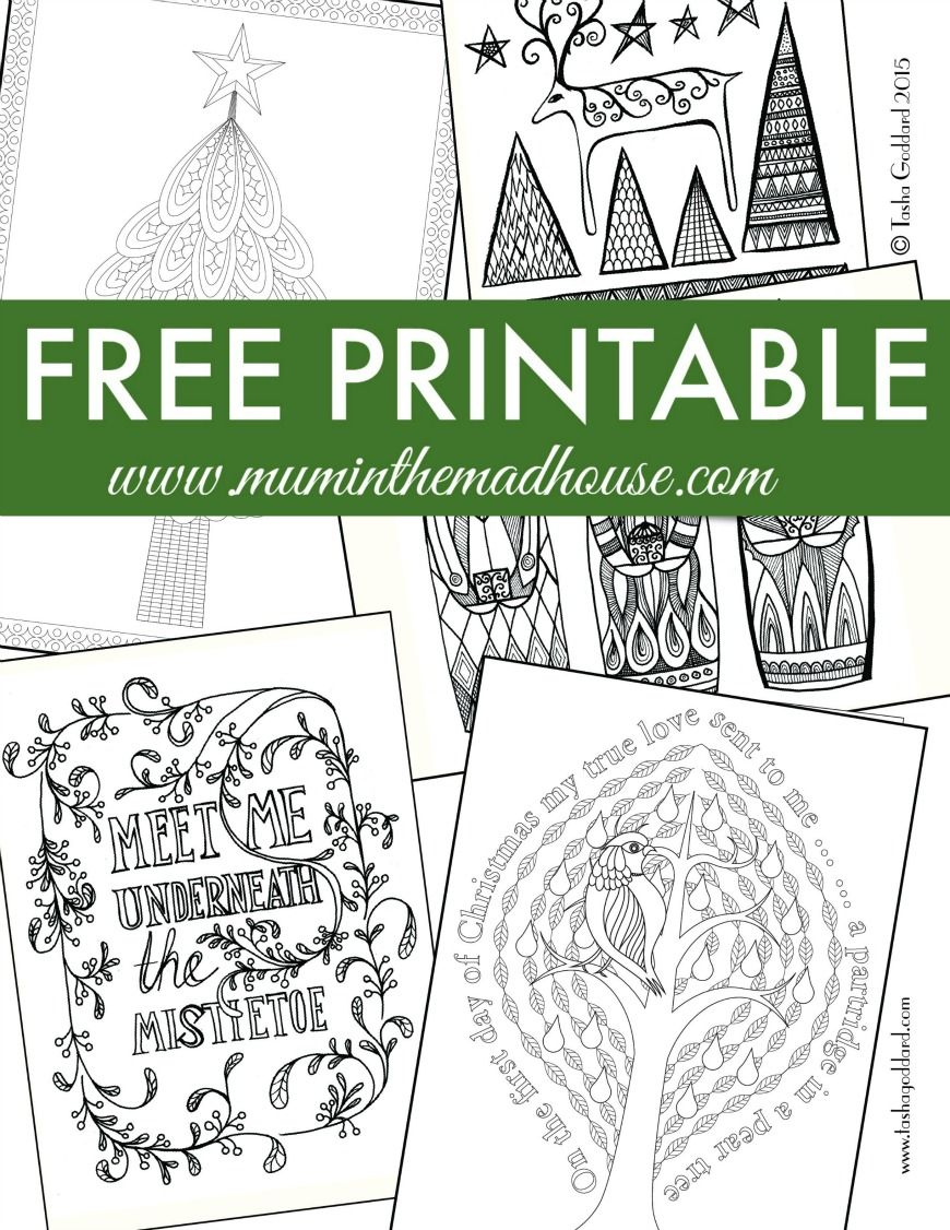 Free Christmas Colouring Pages for Adults and Teens | Teen, Mad and ...