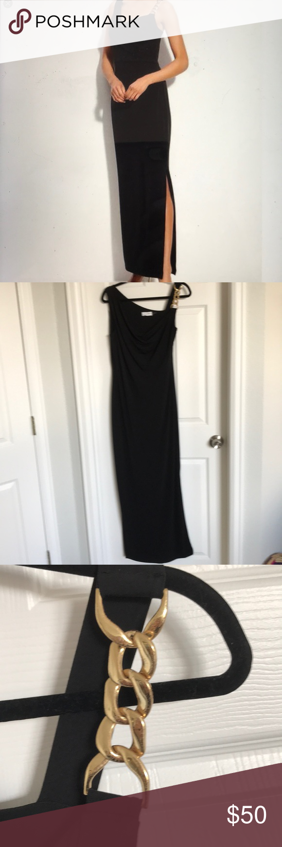 Long Cocktail Dress With Gold Chain Strap Long Cocktail Dress Clothes Design Cocktail Dress [ 1740 x 580 Pixel ]