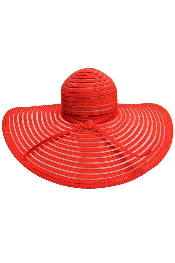 Sheer Striped Wide Brim Floppy Sun Hat