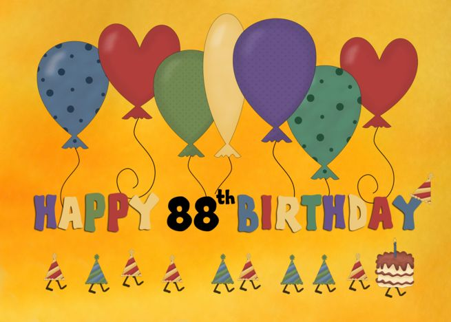 Happy 88th Birthday Balloons Card Ad Affiliate