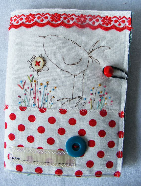 Handmade softly padded Screen Printed Birdy Needlecase