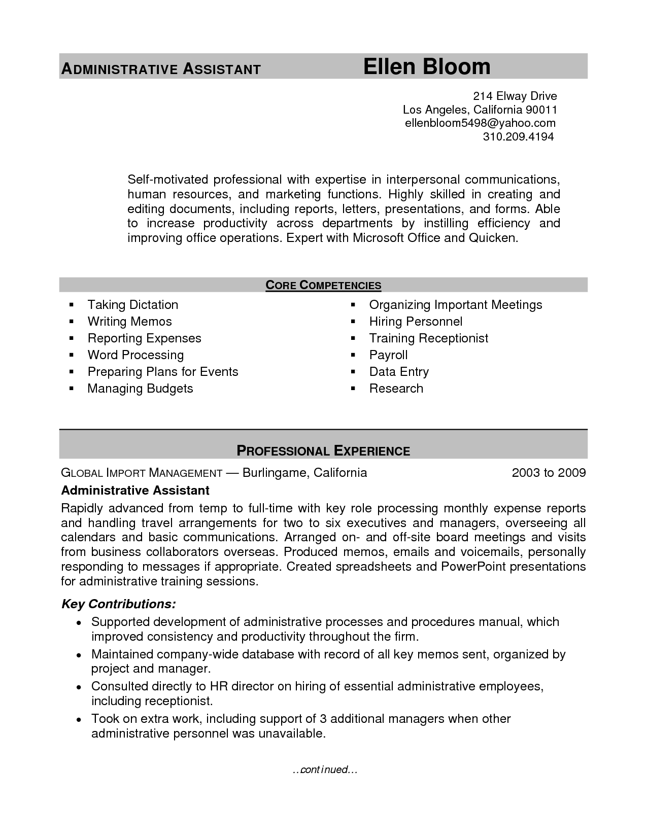 Sample Resume Administrative Assistant sample resume of