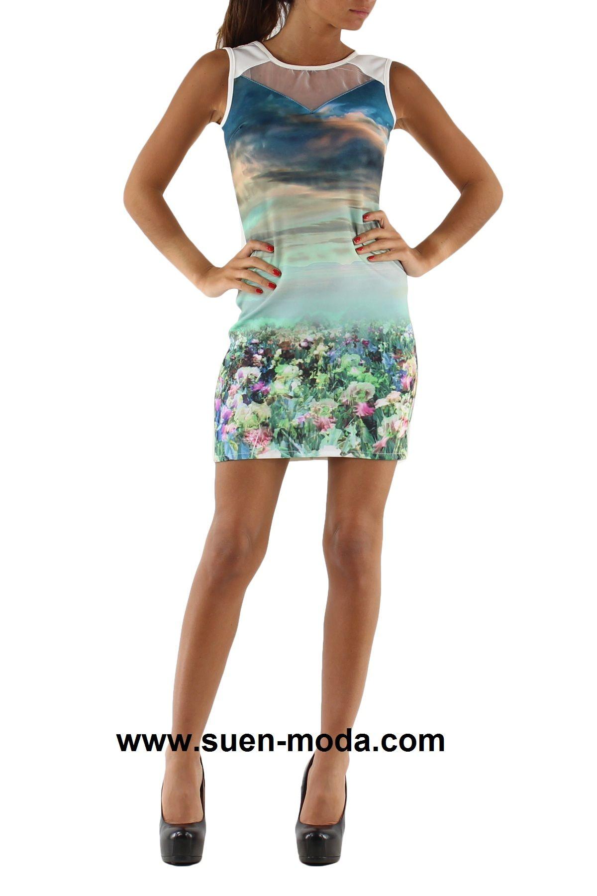 www.suenmoda.com Vestido estampado paisaje