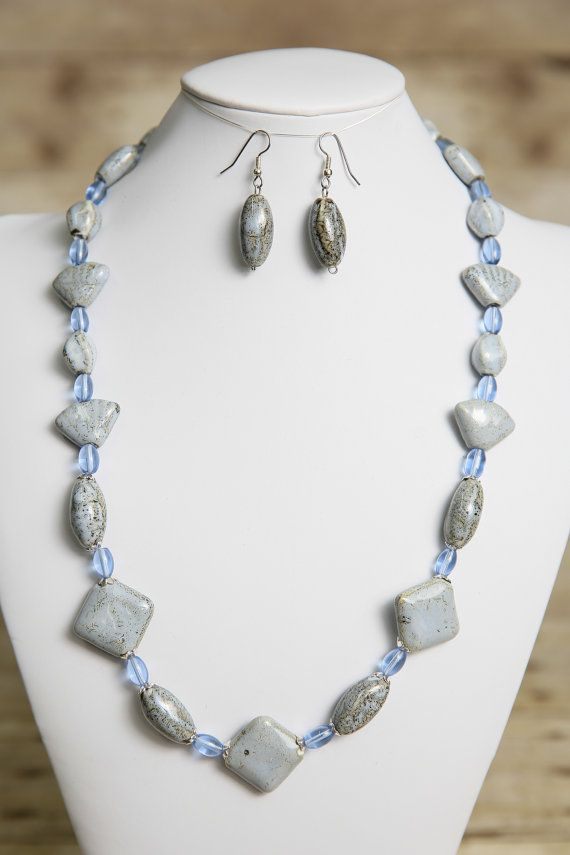 Bluish Gray And Brown Porcelain And Glass By Jewelrystyleandmore