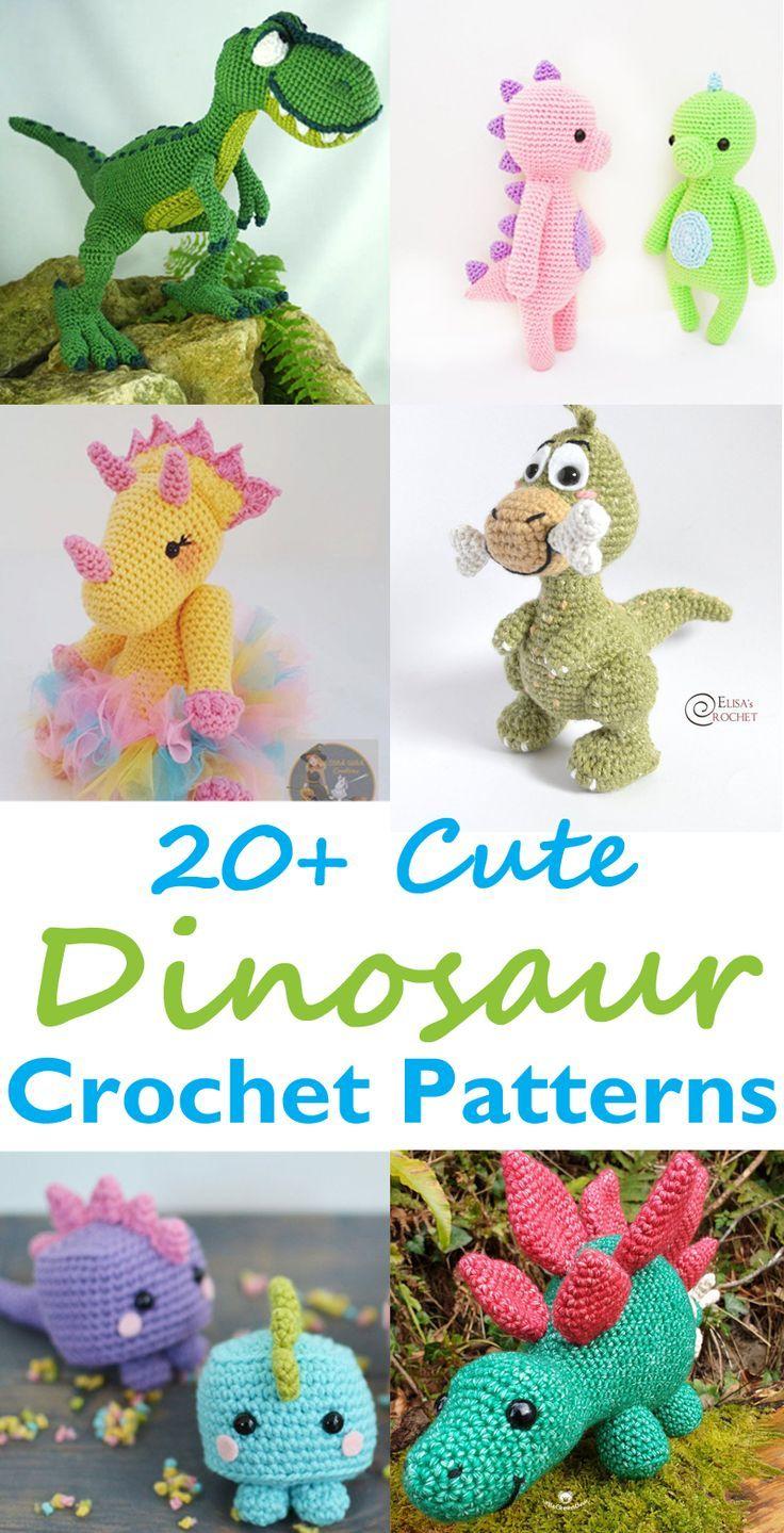 20+ Toy Dinosaur Crochet Pattern – Modèle de cadeau! – Une vie plus astucieuse #cro …   – Figuren