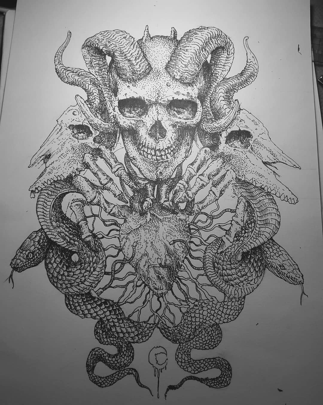 Done live give a touch of color this design is sold if you are interested dm me artforsale darkart skulls artwork art