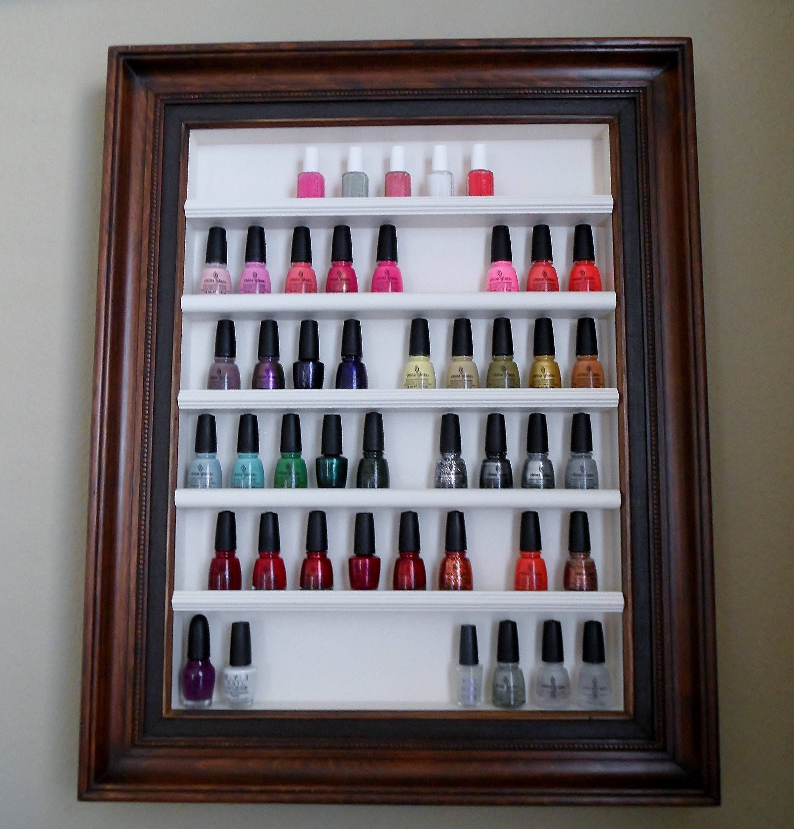 rack for oils...old picture frame | I need this in my life | Pinterest