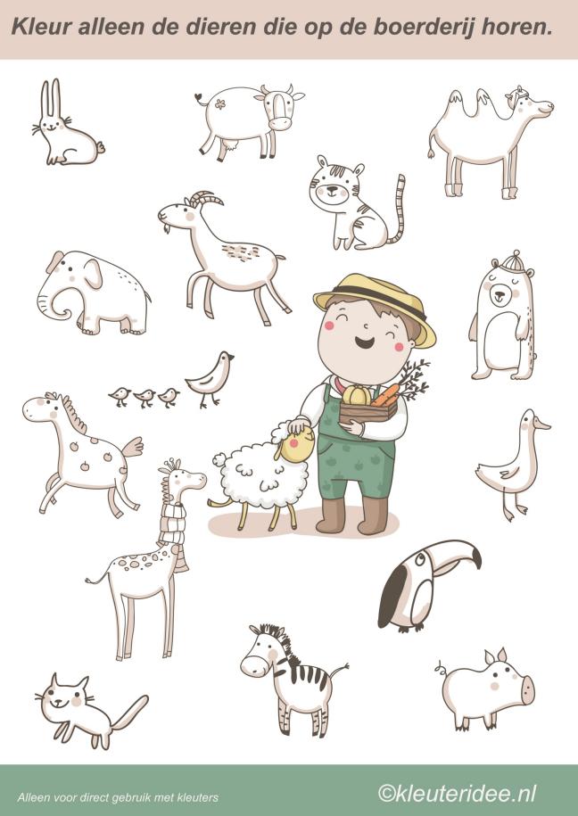 Kleur alleen de dieren die op de boerderij horen [kleuteridee.nl]