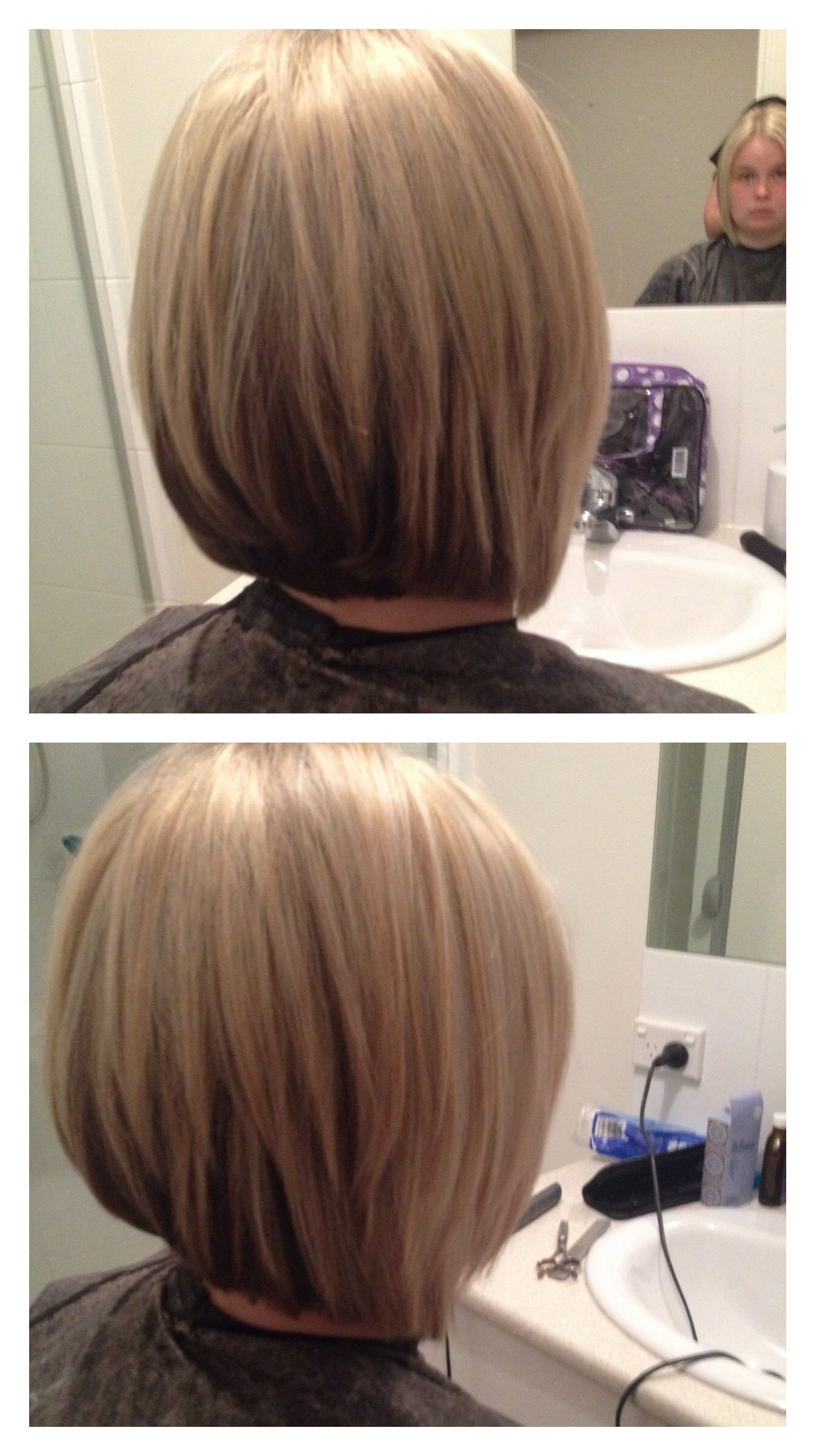 layered concave bob with two colours but i want dark on top and