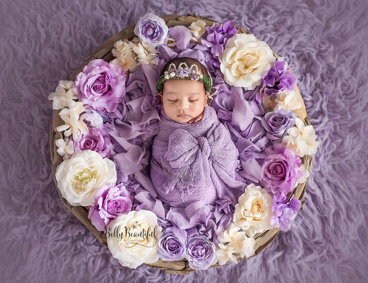 Precious wisteria rag basket stuffer perfect to add vintage texture to your newborn photo shoot