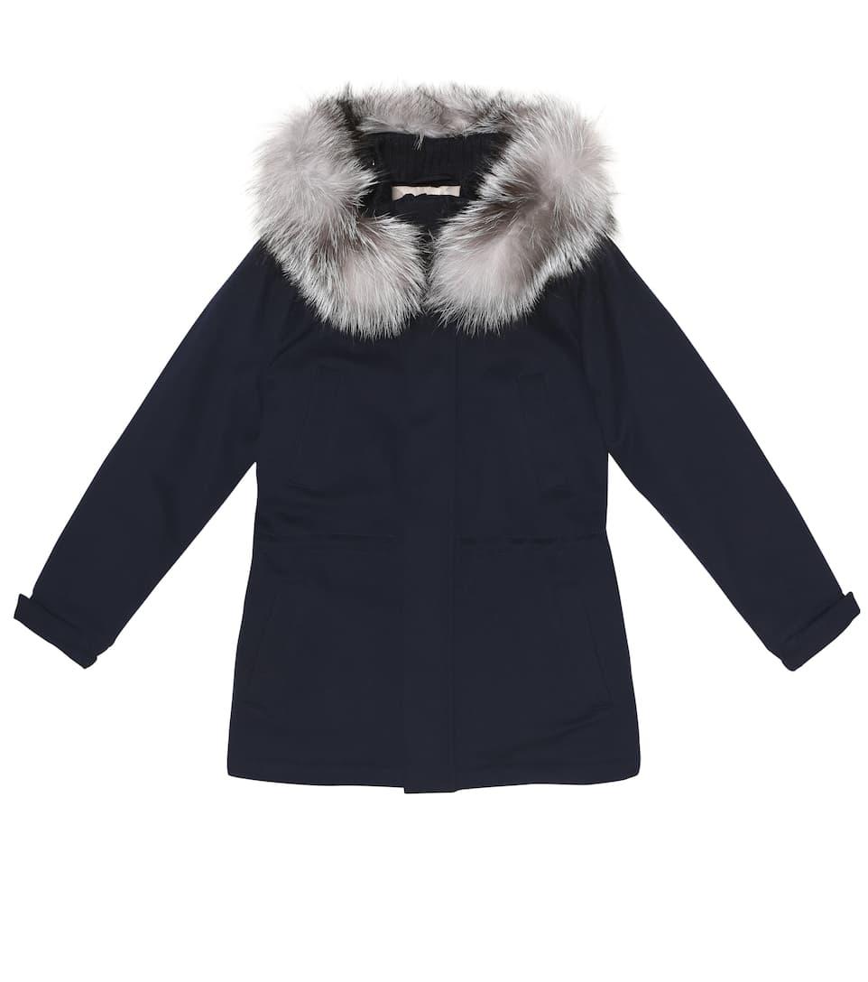 Icery Kid fur-trimmed cashmere coat Loro Piana Kid