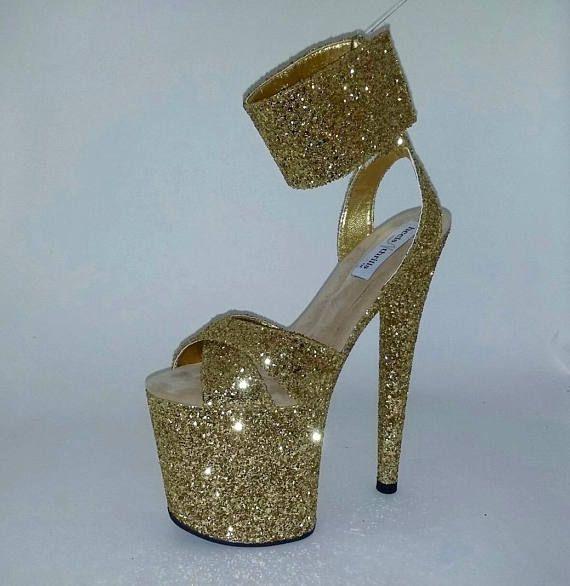 cab1ffa411de Pole Dancing Shoes Custom Made Shoes Exotic Dancer Shoes Gold Glitter Shoes  8 Inch Shoes Strip Dance
