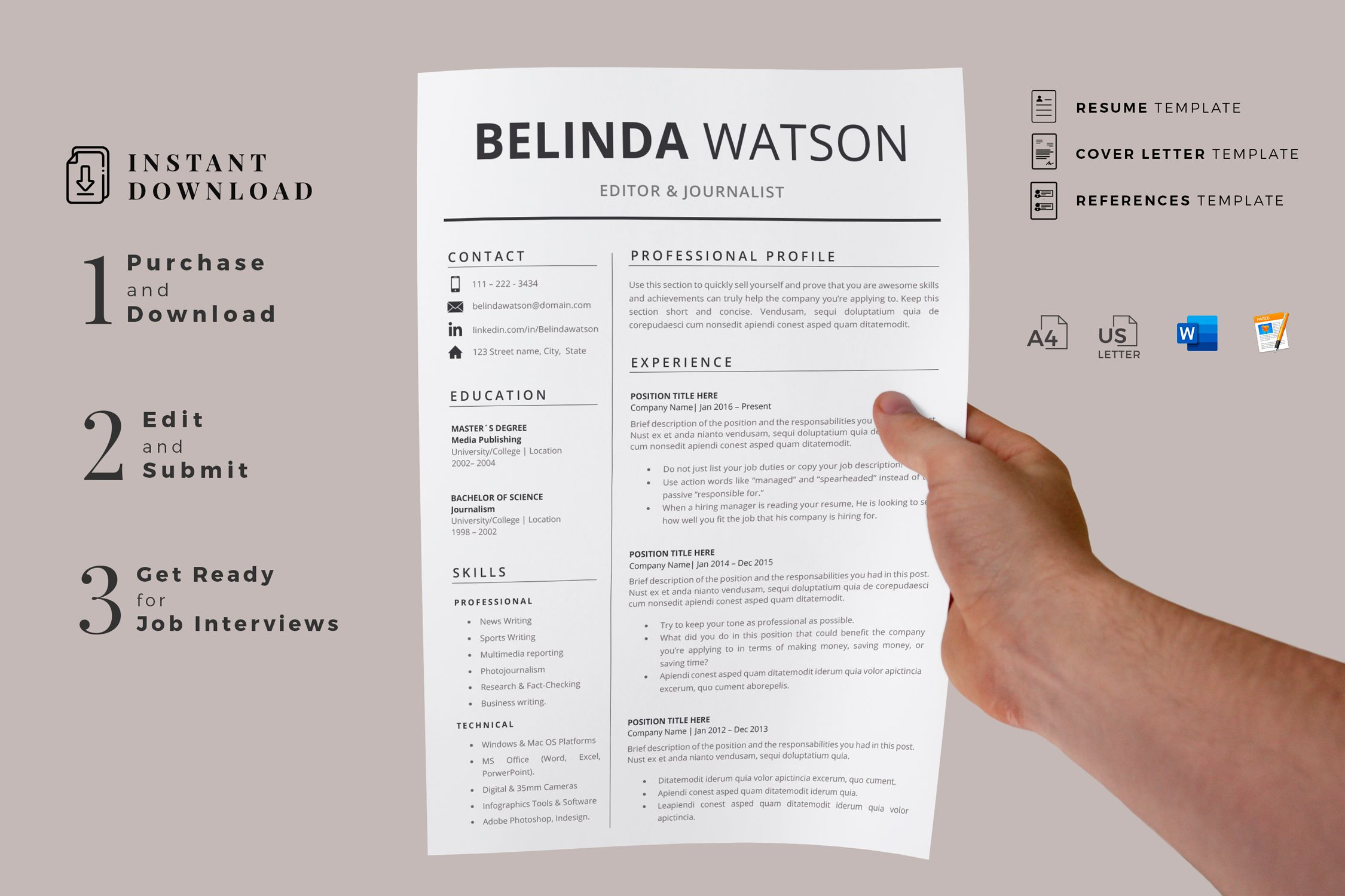 Creative Resume Templates For Ms Word And Mac Pages Professional Resume Templates And Matching Co Creative Resume Templates Resume Design Modern Resume Design