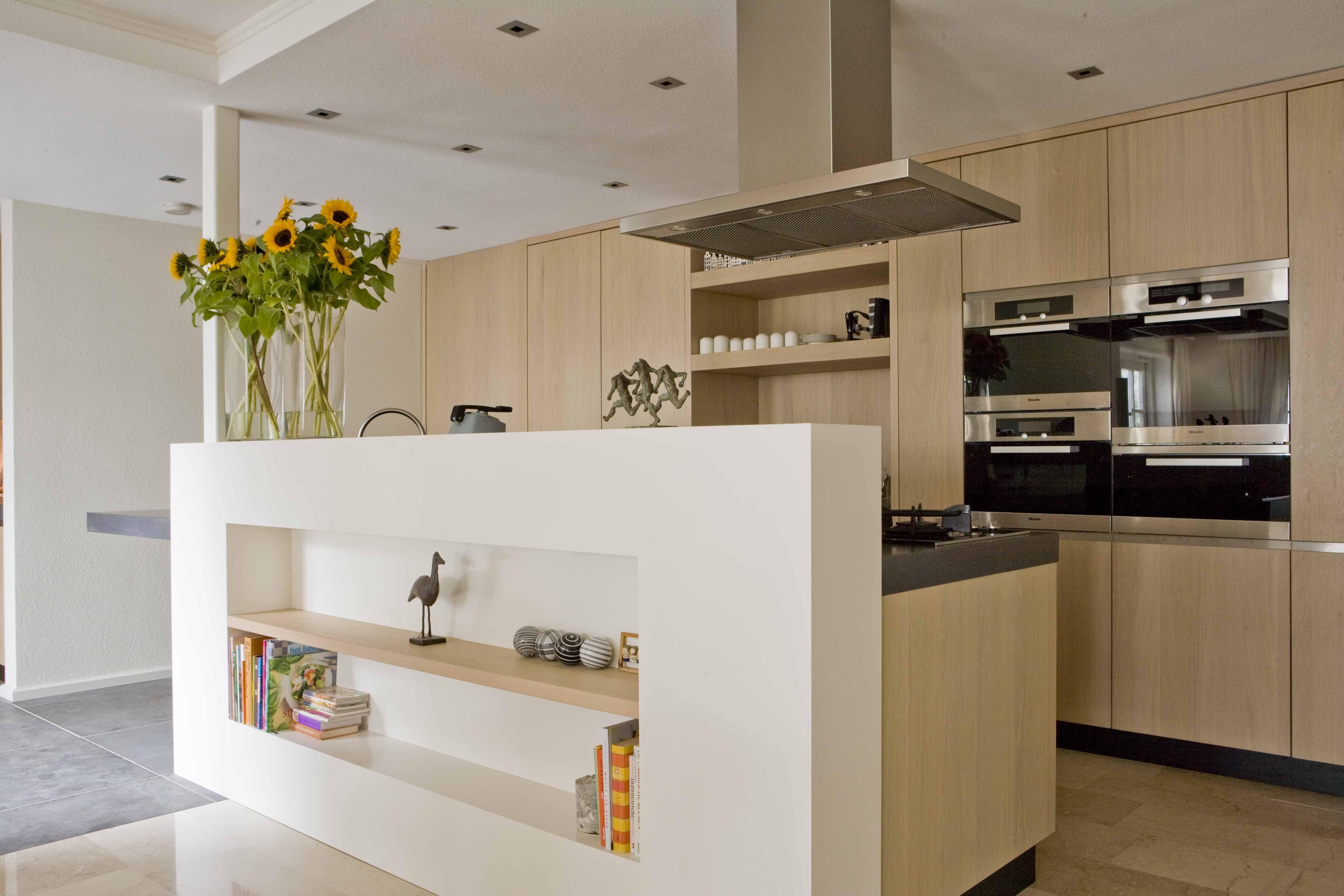 Keuken Modern Open : Massief eiken houten keuken scheidingswand in het werk gemaakt en