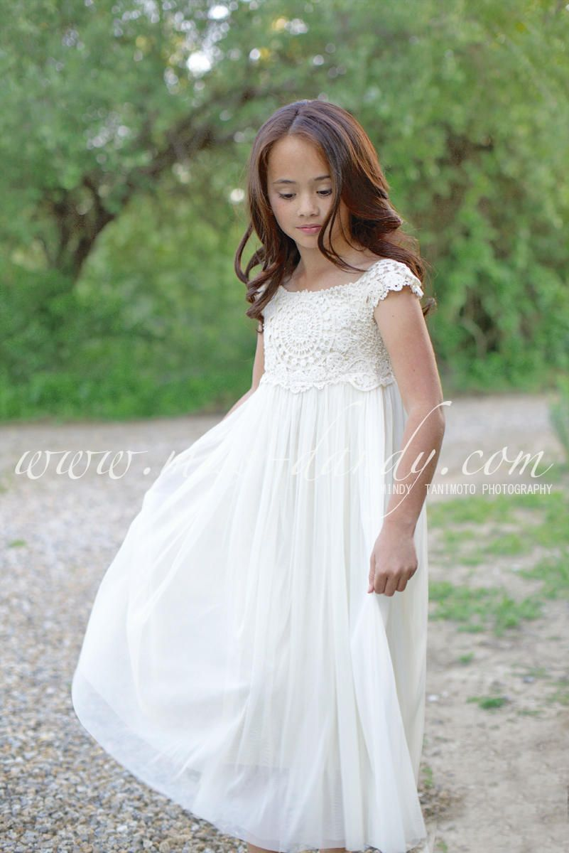 Beach wedding flower girl dresses  Mia Dress Floor Length Crochet Flower girl dress Ivory Lace Crochet