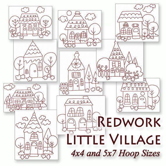 Redwork Little Village Machine Embroidery Patterns / Designs - 4x4 ...