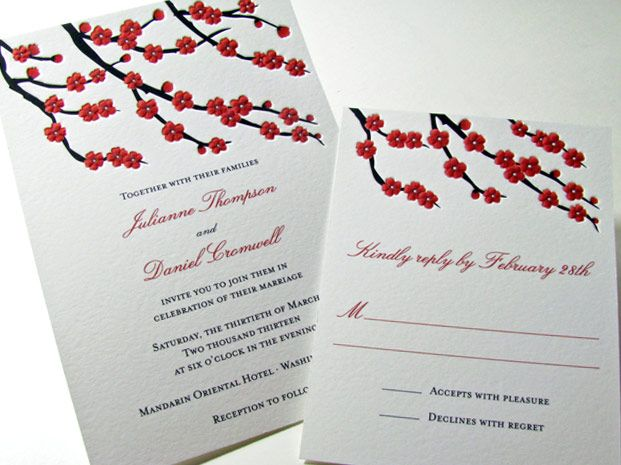 cherry blossom wedding invitation from digby rose but have