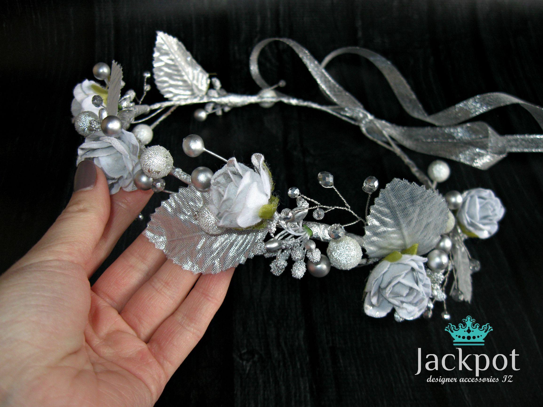 Silver flower crown rose crystal crown hair wreath boho wedding silver flower crown rose crystal crown hair wreath boho wedding headpiece bridal headband maternity flower girl izmirmasajfo