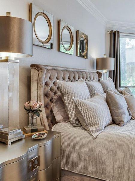 Add Warmth And Elegance To A Neutral Bedroom With Pure Gold Copper Rose Or Satin Bronze Give Boring Bedsi Champagne Bedroom Luxurious Bedrooms Bedroom Design
