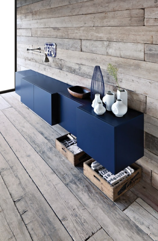 Navy blue with wood