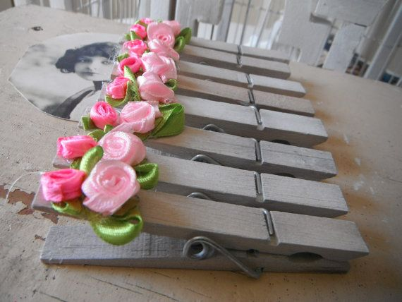 altered clothespins pink roses shabby chic rustic by ShabbyRoad, $12.00