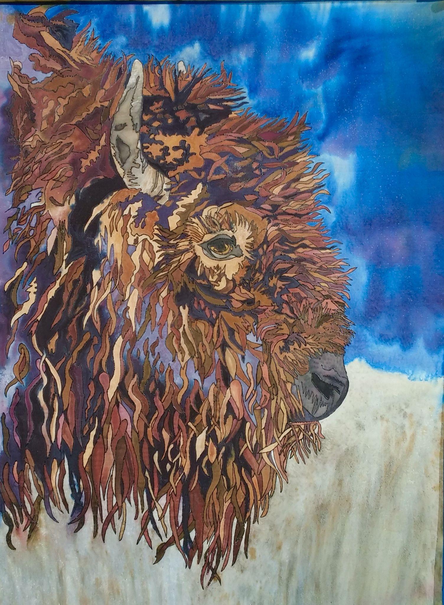 Finished buffalo art 36 x 48 original silk painting