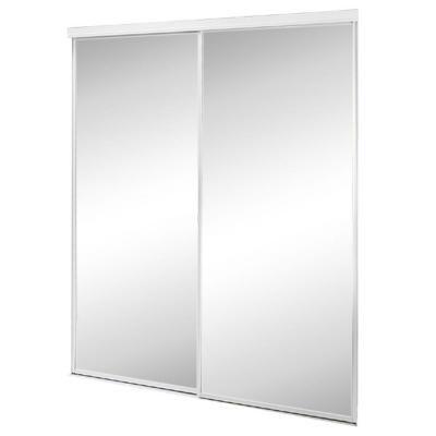 Contractors Wardrobe 59 In X 80 5 In Savoy White Painted Steel Frame Mirrored Interior Sliding Door Sav 5980wh2r The Home Depot Sliding Doors Interior Mirror Interior Mirror Closet Doors