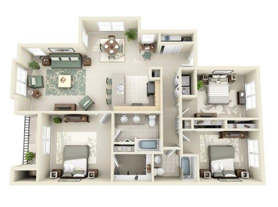20 planos de departamentos de 3 habitaciones modernos for Departamentos modernos fotos