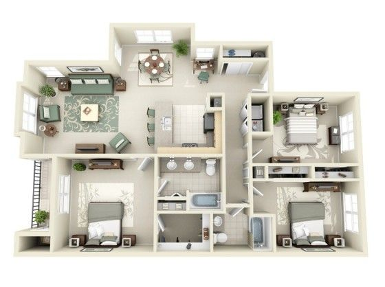 20 planos de departamentos de 3 habitaciones modernos for Planos de casas de 3 recamaras