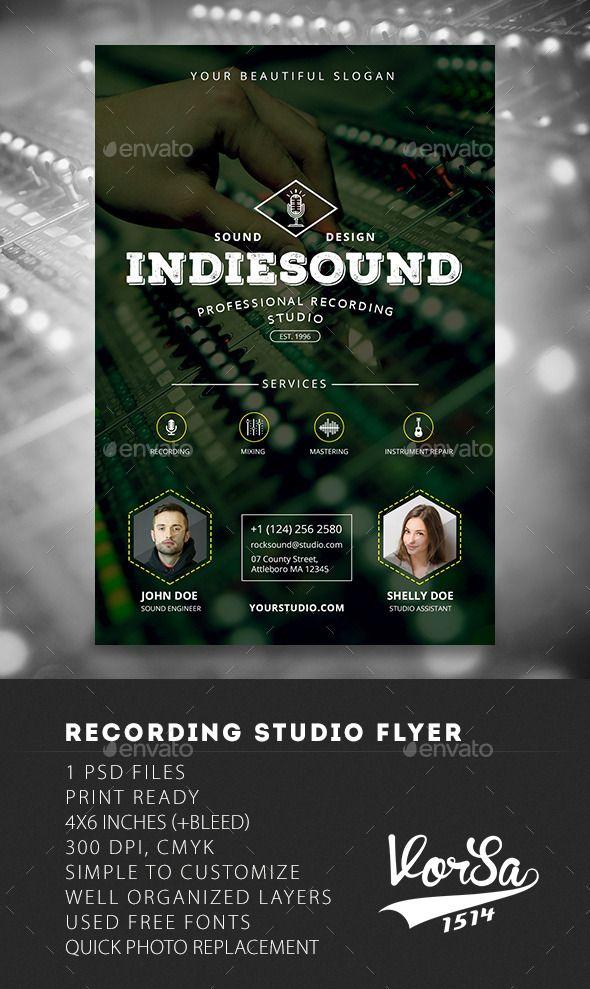 Recording Studio Flyer | Recording studio, Flyer template and Studio