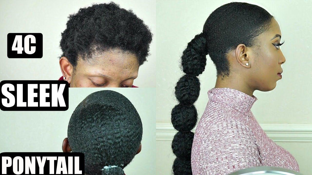 NATURAL 4C HAIR SLEEK LOW PONYTAIL TUTORIAL FOR BEGINNERS ...